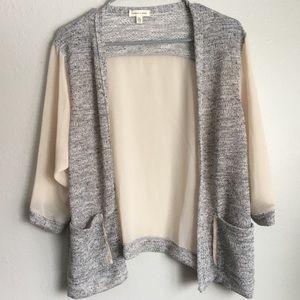 SILENCE + NOISE UO / sheer cardigan gray & cream